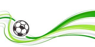 Abstrakt bakgrund för fotboll med bollen och gröna vågor Abstrakt vågfotbollbeståndsdel för design sport för fotboll för bollfotb