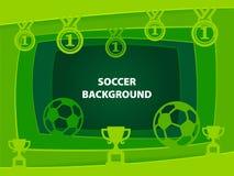 Abstrakt bakgrund för fotboll med papperssnittformer Royaltyfria Foton