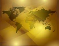 Abstrakt bakgrund för guld med översikten av världen Arkivbild