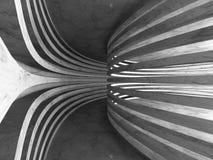 Abstrakt bakgrund för mörkerbetongarkitektur Rund tom tunn Arkivfoton