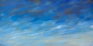 Abstrakt bakgrund för olje- målning för blå himmel för textur Dragit konstverk för Closeupmakro hand Royaltyfria Bilder