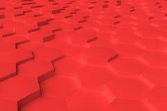 Abstrakt bakgrund för röda monokromma sexhörningstegelplattor Stock Illustrationer