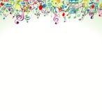 Abstrakt bakgrund för skönhet med färgrika musikanmärkningar stock illustrationer