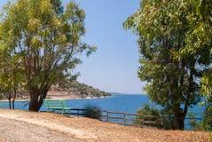 Abstrakt bakgrund för sommar av den tropiska stranden i det Ionian havet Arkivbild