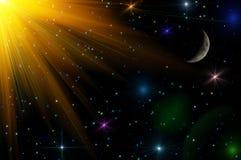 Abstrakt bakgrund för stjärnahimmelmåne Arkivbild