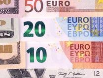 Abstrakt bakgrund för US dollar- och euroräkningar Arkivfoton