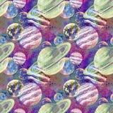 Abstrakt bakgrund för vattenfärgplaneter vektor illustrationer