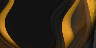 Abstrakt bakgrund för vektor 3D med pappers- klippt form Färgrik mörk snida konst med guld och mousserar Pappers- hantverk stock illustrationer