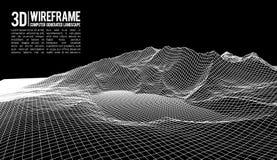 Abstrakt bakgrund för vektorwireframelandskap Cyberspaceraster för wireframevektor för teknologi 3d illustration digitalt Arkivbild