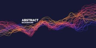 Abstrakt bakgrund f?r vektor med den dynamiska v?gor, linjen och partiklar vektor illustrationer