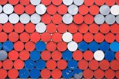 Abstrakt bakgrund från bottnarna av järn barrels Arkivbild