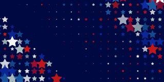 Abstrakt bakgrund från röda, blåa vita stjärnor vektor illustrationer