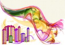 Abstrakt bakgrund i stads- stil Royaltyfri Illustrationer