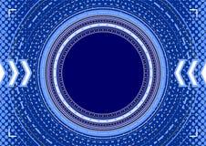Abstrakt bakgrund - koncentriska cirklar, halvton och pilar in Fotografering för Bildbyråer