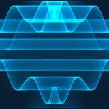 abstrakt bakgrund Ljusa blålinjen på den djupblå bakgrunden Geometrisk modell i blåa färger Arkivbilder