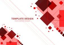 Abstrakt bakgrund, malldesign, r?d signal f?r fyrkant, vektorillustration royaltyfri illustrationer