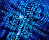 Abstrakt bakgrund med bitcoinsymbol Royaltyfri Foto