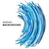 Abstrakt bakgrund med blåa färgrika krökta linjer i en kaotisk beställning Arkivfoto