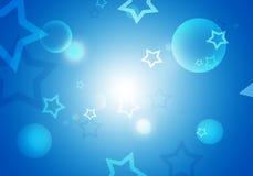 Abstrakt bakgrund med blåa stjärnor blossar och förbigår för text Royaltyfria Bilder