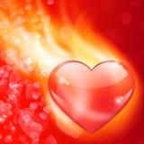 Abstrakt bakgrund med brinnande hjärta Royaltyfri Fotografi