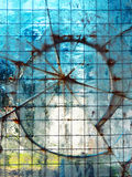 Abstrakt bakgrund med brutet exponeringsglas Arkivbilder