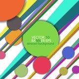 Abstrakt bakgrund med cirklar och linjer av olika färger Arkivfoto