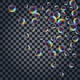 Abstrakt bakgrund med de mångfärgade realistiska såpbubblorna Royaltyfri Fotografi