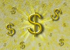 Abstrakt bakgrund med en dollar undertecknar Royaltyfri Fotografi