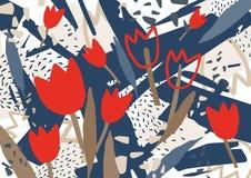 Abstrakt bakgrund med den stiliserade röda blommande tulpan blommar Ovanlig färgrik horisontalbakgrund med naturligt Arkivbilder