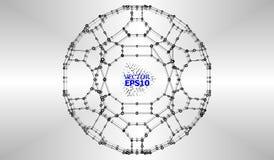 Abstrakt bakgrund med Dots Array och linjer Anslutningsstruktur Royaltyfri Bild