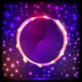 Abstrakt bakgrund med en cirkel med ljusa effekter stock illustrationer