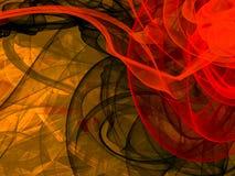 Abstrakt bakgrund med energivävar, digitala för guling, bruna och röda färger för illustration, för 3d, illustration Royaltyfri Foto