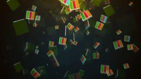 Abstrakt bakgrund med fallande kvarter stock video