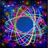 Abstrakt bakgrund med flätade samman kulöra cirklar och ljusa effekter stock illustrationer