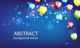 Abstrakt bakgrund med glänsande färgrika ballonger med Bokeh E Royaltyfri Bild