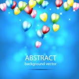 Abstrakt bakgrund med glänsande färgrika ballonger med Bokeh E Arkivfoto