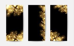 Abstrakt bakgrund med guld mousserar Skinande defocused guld- bokeh tänder på svart bakgrund Royaltyfria Foton