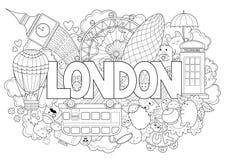 Abstrakt bakgrund med hand dragen text London Handbokstäver Mall för annonsering, vykort, baner, rengöringsdukdesign Arkivfoton