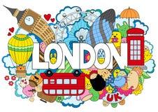 Abstrakt bakgrund med hand dragen text London Handbokstäver Mall för annonsering, vykort, baner, rengöringsdukdesign Royaltyfri Fotografi