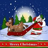 Abstrakt bakgrund med jultomten och hästen. Arkivbild