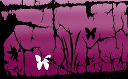 Abstrakt bakgrund med lilor färgar den svarta blomman och fjärilen Arkivbild
