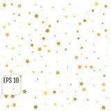 Abstrakt bakgrund med många fallande guld- stjärnakonfettier Vecto Fotografering för Bildbyråer