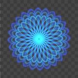 Abstrakt bakgrund med neonblåttcirklar som en blomma på genomskinligt vektor stock illustrationer