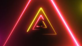 Abstrakt bakgrund med neontrianglar stock video