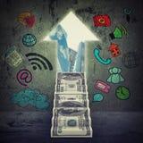 Abstrakt bakgrund med pengartrappa Arkivbild