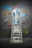 Abstrakt bakgrund med pengartrappa och det nyckel- hålet Royaltyfri Bild