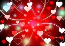 Abstrakt bakgrund med röd ljus hjärta och den blan färgrika signalljuset Royaltyfria Bilder