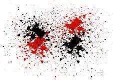 Abstrakt bakgrund med röd och svart färg plaskar Arkivbild