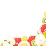 Abstrakt bakgrund med skivor av nya frukter Royaltyfria Bilder