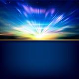 Abstrakt bakgrund med soluppgång och berg Royaltyfri Foto